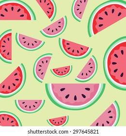 Watermelon illustration pattern on a light green background./Watermelon background