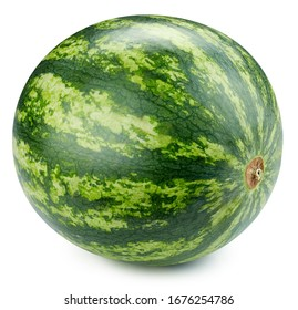 Watermelon isolated on white background. Watermelon berry fruit clipping path. Watermelon macro studio photo
