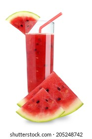 Watermelon juice in a glass on a white background