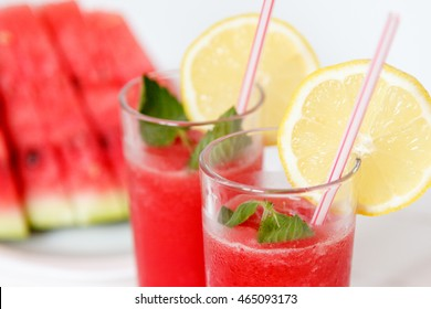 watermelon juice on wooden background. close up. Selective focus