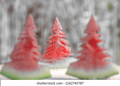 Watermelon look like Christmas tree on white background,for design,card,Merry Christmas And Happy New Year,space for text.