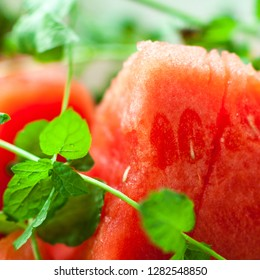 Watermelon with mint closeup