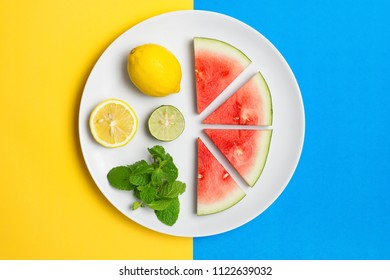 Watermelon on plate with lemon lime and mint leaves on a split color background.