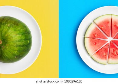 Watermelon on plate with split color background.