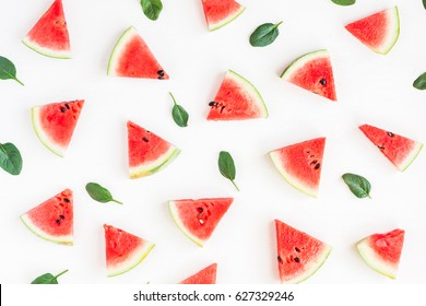 Watermelon pattern. Sliced watermelon on white background. Summer concept. Flat lay, top view