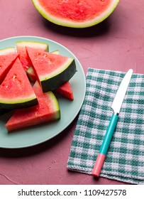 watermelon pieces in a red background