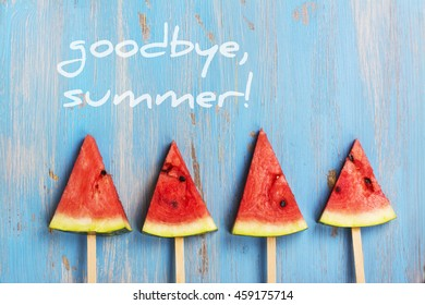Watermelon popsicles. Goodbye summer card. Top view