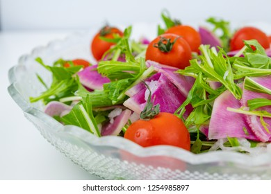watermelon radish and mizuna salad