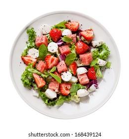 Watermelon Salad with mozzarella on white background