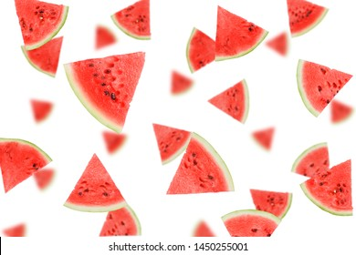 watermelon set, isolated on white background, selective focus