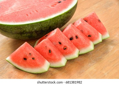 Watermelon slices and half decorated