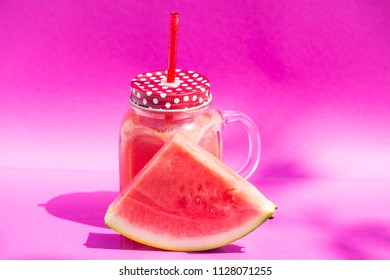 watermelon smoothie on pink background