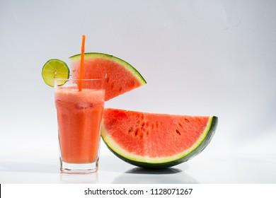 watermelon smoothie on white background