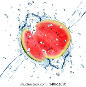 watermelon splash isolated on white background