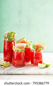 Watermelon summer drink with lime juice, sluchie or smoothie