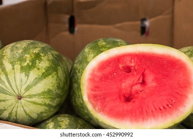 The watermelon is an summer fruit plant with long, weak, trailing or climbing stems which are five-angled and up to 3 m (10 ft) long. These watermelons are a favorite at the local Farmer's Market.