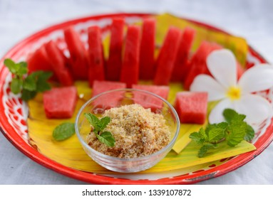 Watermelon with sweet dried fish crispy shallot dip,Ancient food of Thailand for the summer.