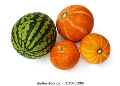 Watermelon and three pumpkins on a white background