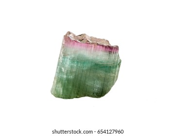 Watermelon Tourmaline crystal specimen isolated on a white background