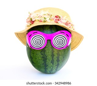 Watermelon woman with glasses and hat on white background