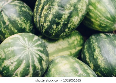 Watermelons on the market, closeup