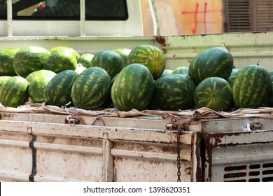 Watermelons on the truck, row of cantaloupe at street farmers market