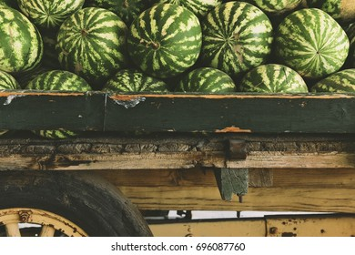 Watermelons on Wood Cart
