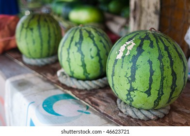 Watermelons at a roadside stand in Okinawa, Japan.