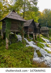 Watermill complex at Pliva near Jajce, on the travertine barrier between Great and Small Pliva lakes, built of oak. - Image