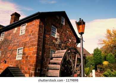 Watermill and cottage in Penny Royal World, Tasmania.