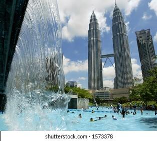 Waterpark and Petronas Twin Towers, Kuala Lumpur, Malaysia