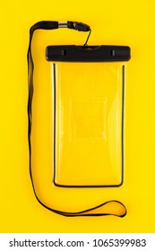 Waterproof Case for Smartphone on Yellow Background