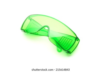 Waterproof Green sunglasses isolated on white