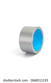 Waterproof reinforced adhesive tpl tape, gray color with a metallic sheen, isolated image. TPL tape consists of special glass fiber reinforced polyethylene basis with rubber adhesive coating.