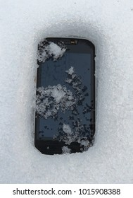 Waterproof smart phone in snow.