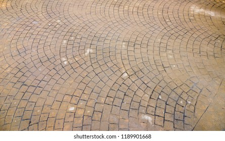 waterproof Stamped concrete pavement outdoor, mimics cobblestones pattern, wet flooring exterior, decorative appearance colors and textures of paving cobble stone