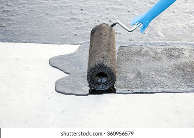 Waterproofing. roller brush,  for waterproofing.