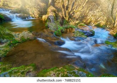 The waters of Gostilje waterfalls . Zlatibor-Serbia.