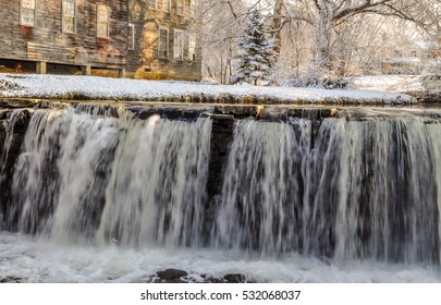 The waters of Otter Creek fall in the village of Brandon, Vermont.