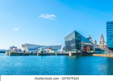 Waterside of Liverpool dominated by the museum of Liverpool and open eye gallery, England