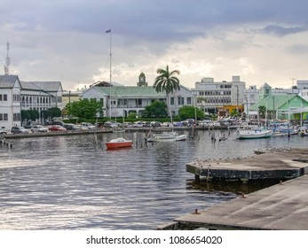 waterside scenery in Belize City, the capital of Belize in Central America at evening time