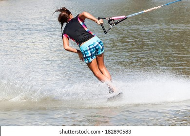 Waterskiier in action