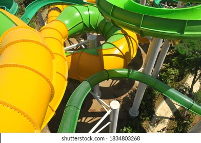 Waterslides in Waterbom waterpark  in Kuta, Bali.Waterbom Bali is the island's premier waterpark, which has over a dozen exciting waterslides and water games for all ages