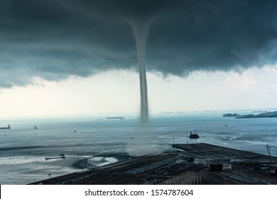 Waterspout (Sea spout) over the sea