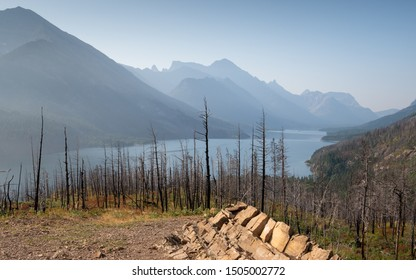 Waterton lake, Landscape of the Waterton Lakes National Park with blue sky, Alberta, Canada