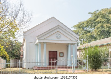 WATERVAL BOVEN, SOUTH AFRICA - MAY 22, 2019: A street scene, with the Astrea Free Mason Lodge, in Waterval Boven in Mpumalanga