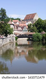 A waterview photo of the cosy little town in Southern Germany called Schwaebisch Hall.