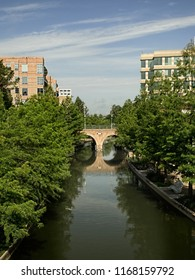 Waterway with Bridge in The Woodlands TX on a Summer Day