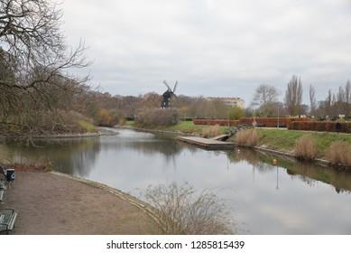 Waterway in Castle Garden and Park, Malmo, Sweden, Scandinavia, Europe