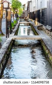 Waterway with fish in Gifu Japan